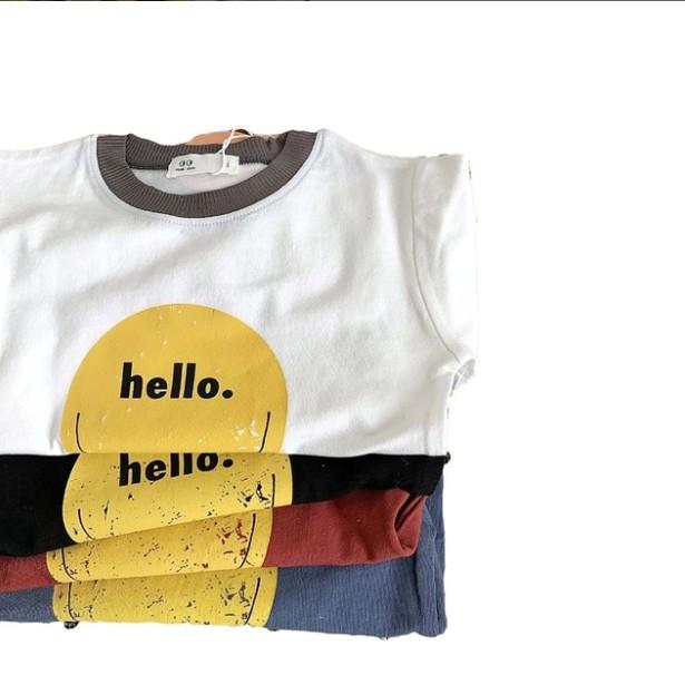 [FORM ĐẶC BIỆT XEM KỸ BẢNG SIZE] Áo thun ngắn tay mặt cười Hello cho bé A528