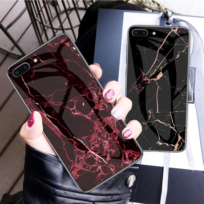 Ốp điện thoại mặt kính cường lực họa tiết vân đá độc đáo cho iPhone 6 6S 7 8 Plus XS Max XR