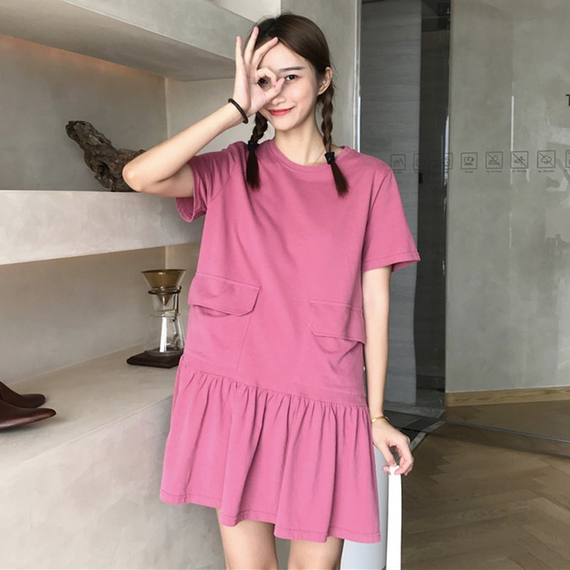 Korean Pocket Short Sleeve Dress