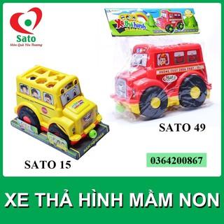 Đồ chơi XE THẢ HÌNH MẦM NON Sato 4 trong 1 (24 chi tiết/bộ) hàng Việt Nam