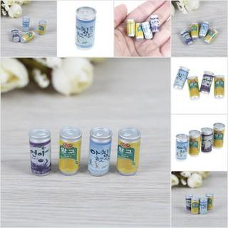 【COD•newb】4Pcs 1:12 Dollhouse miniature cans fou doll house kitchen decorate