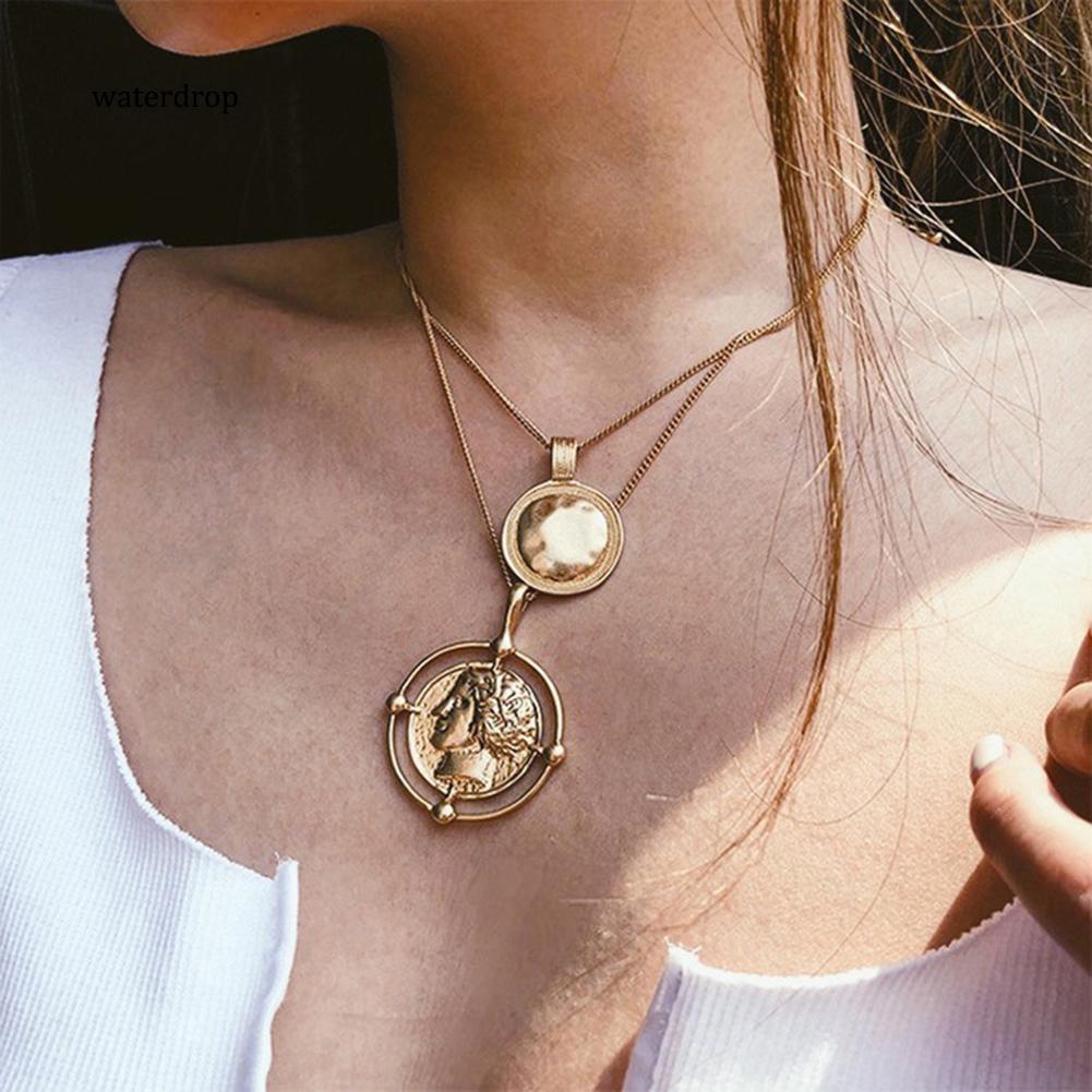 XL-Religious Multi-layer Alloy Round Pendant Women Necklace Charm Jewelry Decor