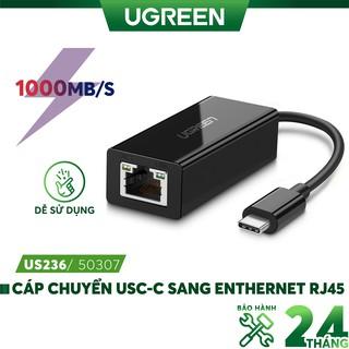 Cáp chuyển đổi USB type C sang đầu mạng Ethernet RJ45 Gigabit UGREEN 50307 thumbnail