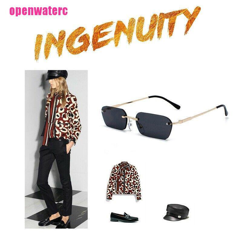 OPE Small Rectangle Slim Rimless Shade Sunglasses Men Women Designer Minimal Glasses