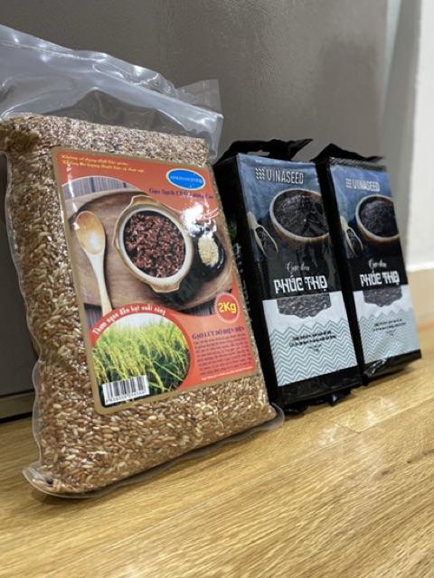 Combo 4kg gạo lứt: 2kg gạo lứt đỏ Điện Biên và 2kg gạo lứt đen Phúc Thọ