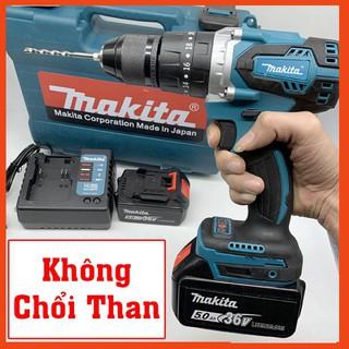Máy khoan pin Makita 128V 3 chức năng, không chổi than, Motor 775, đầu Auto Lock – Tặng mũi khoan tường và mũi vít