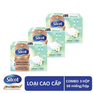 Hình ảnh Bộ 3 hộp Bông trang điểm (bông tẩy trang) cao cấp Silcot Premium 66 miếng/hộp-0