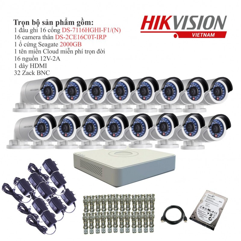 Trọn bộ 16 camera quan sát HIKVISION TVI 1 Megapixel DS-2CE16C0T-IRP chuẩn 720HD