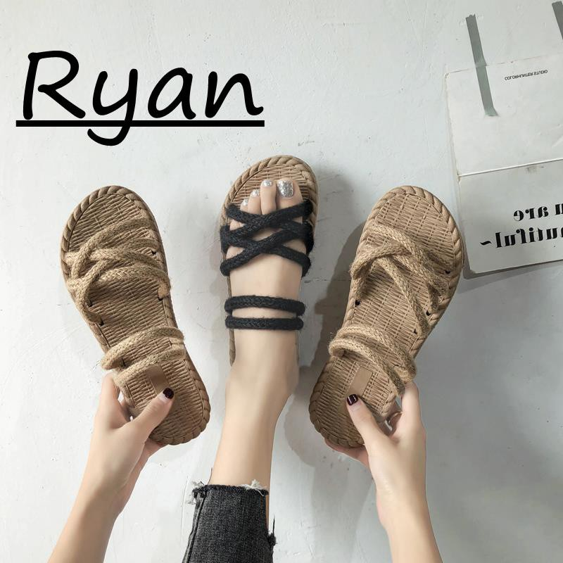 Sandals, female summer fashion, casual twine slippers, two beach slippers,