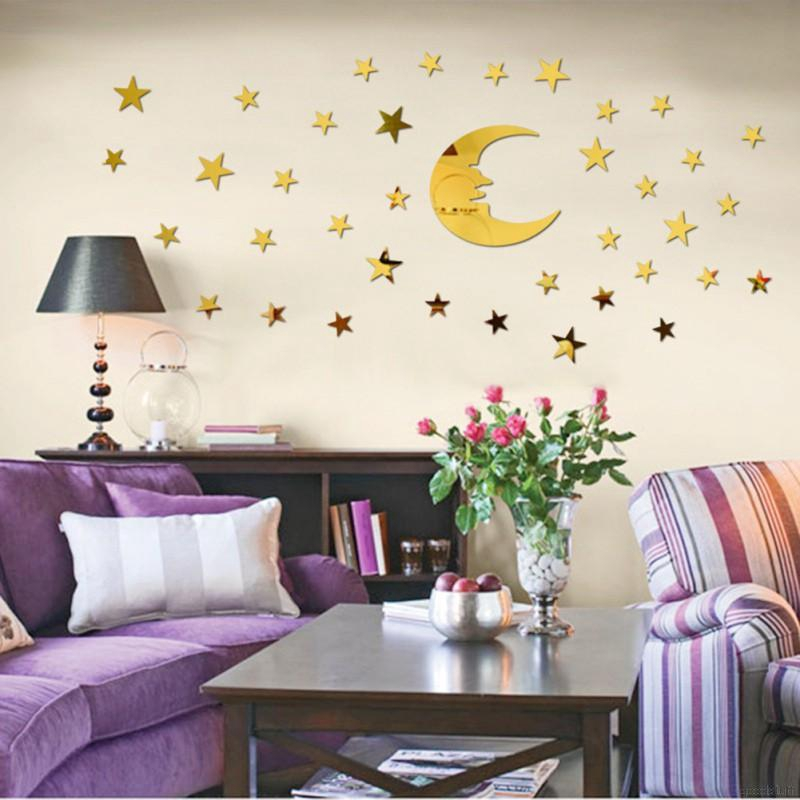 Star And Moon Acrylic Mirror DIY Wall Sticker Decoration Wall Decals