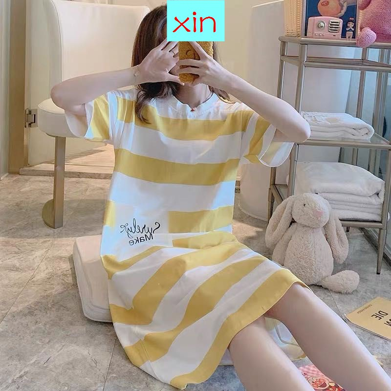 Skirt Female Summer Ice Silk Thin Section Sexy Cute Ladies Short-Sleeved Large Size Loose Simulation Silk Pajamas Spring