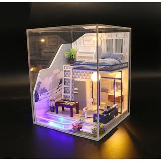 Bộ lắp ghép nhà búp bê gỗ – Biệt thự nhỏ màu xanh Sapphire Love
