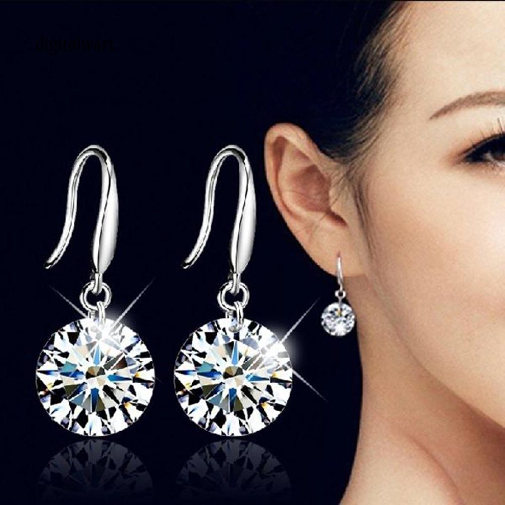 Cặp khuyên tai tròn mạ bạc đính đá zircon sang trọng cá tính dành cho nữ
