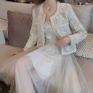 Set áo dạ tweed + áo yếm 2 dây (tách set) (ORDER)