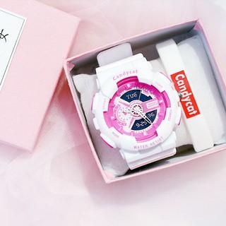 Đồng hồ thời trang nam nữ Candycat giả điện tử mẫu chạy kim G72