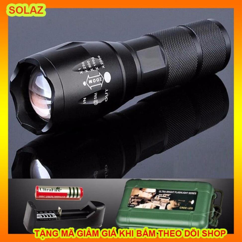 Giá bán Full box - Đèn Pin Siêu Sáng Cao Cấp T6 + Kèm Pin + Sạc + BOX -BH  12 tháng