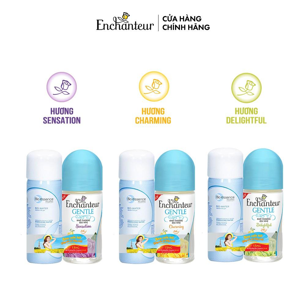 Lăn khử mùi Enchanteur Gentle Charming/ Sensation/ Delightful 50ml - Tặng Xịt khoáng Bio-Essence 30ml
