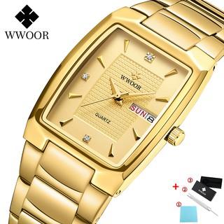 Đồng hồ Quartz WWOOR chống thấm nước kiểu dáng hợp thời trang có thể xem lịch 8837