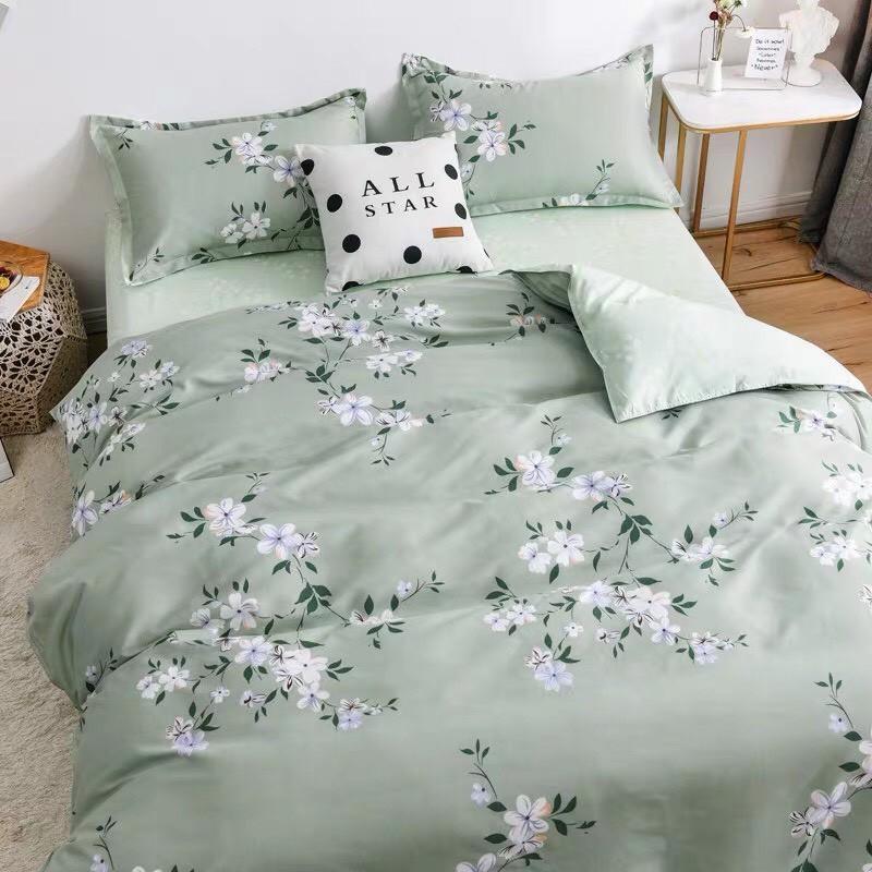 Bộ Chăn ga cotton poly Emmidecor - mẫu HOA XANH 123