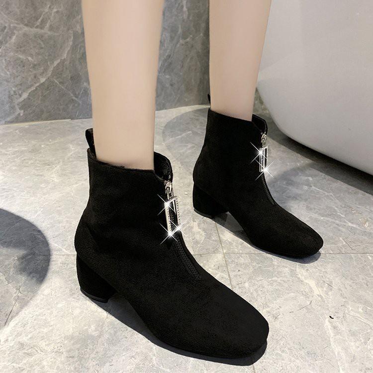 【จัดส่งฟรี】ะฤดูใบไม้ร่วงรองเท้าเดียวเด็กซิปด้านหน้าที่มีส้นถุงน่องยืดหยุ่นรองเท้า