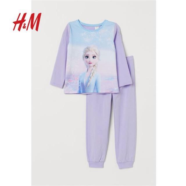 Bộ cotton dài HM Elsa tím 1-10Y (có ảnh thật)