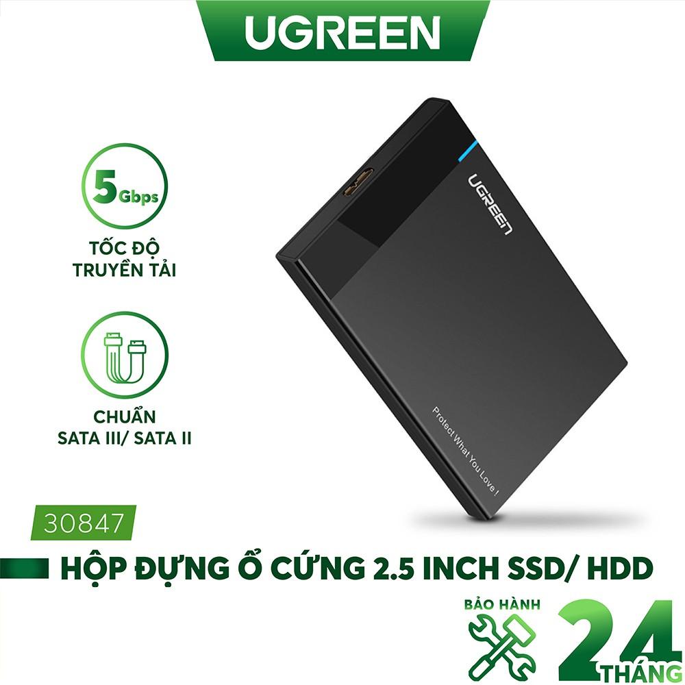 Hộp đựng ổ cứng 2.5 inch SSD, HDD hỗ trợ 6TB,chuẩn SATA UGREEN US221 vỏ nhựa ABS