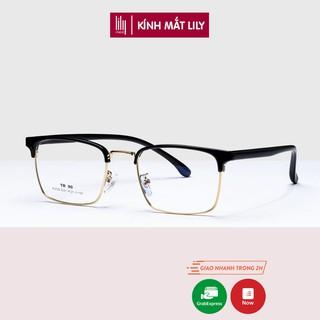 Gọng kính cận nam nữ Lilyeyewear thiết kế mắt vuông, chất liệu nhựa phối kim loại nhẹ nhàng thanh mảnh - 770