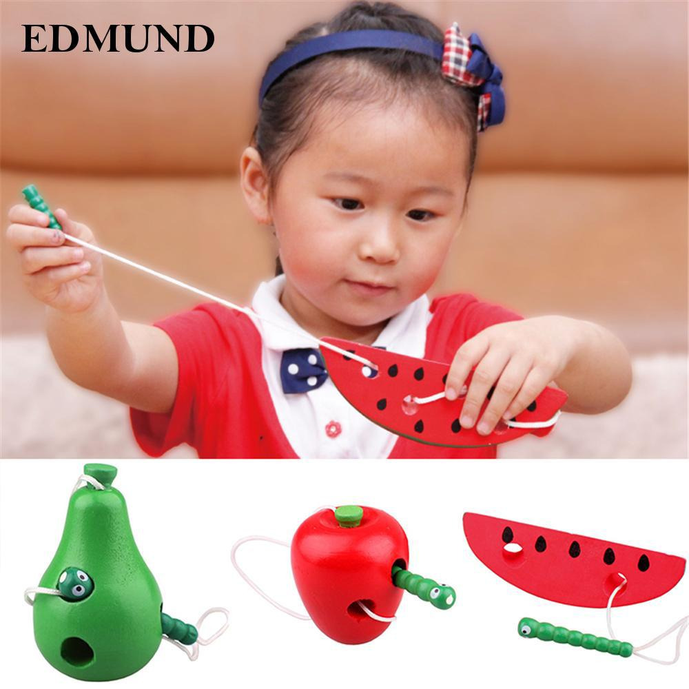 Portable Color Wooden Lacing Game Threading Fruit Toy Kid Early Delicate