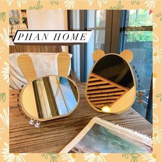Gương để bàn trang điểm bằng gỗ, gương hình thỏ, gương hình gấu dễ thương, gương decor thumbnail