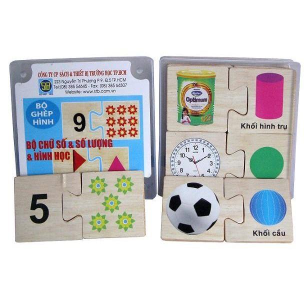 Bộ gỗ ghép Chữ số và số lượng và hình học