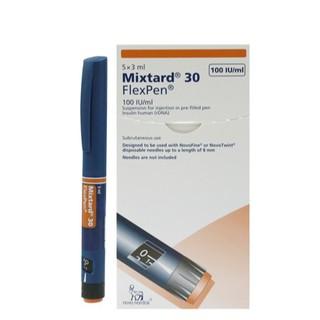 Bút tiêm Insulin trị tiểu đường Mixtard 30 Flexpen hộp 5 cây – Giá 175k cho 1 cây