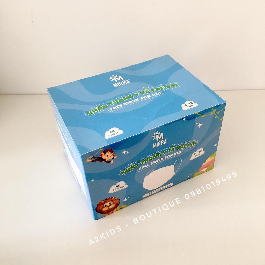 Khẩu Trang Y Tế Trẻ Em 3 Lớp Kháng Khuẩn MIRRA Của Bông Bạch Tuyết - ISO13485 (Hộp 50 cái)