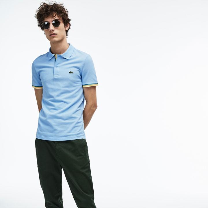Áo Lacoste Slim Fit Petit Piqué Polo Shirt - Light Blue