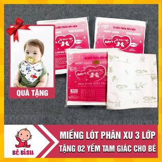 Combo 10 gói Lót phân xu Hiền Trang (freesize) 3 lớp (gói 17 miếng) kèm 2 yếm tam giác xô cho bé thumbnail