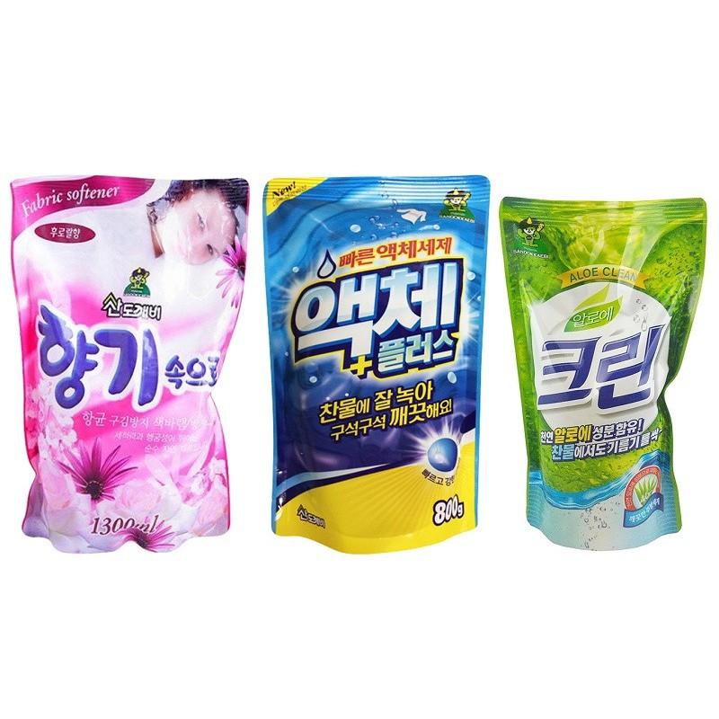 Combo 3 gói nước giặt 800ml, nước xả vải 1,3l, nước rửa chén 300ml hãng Sandokkaebi Hàn Quốc