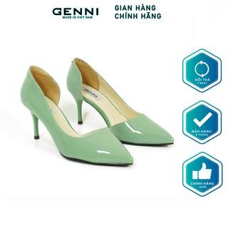 Giày cao gót khoét eo da bóng 7p GE032-1 - Genni
