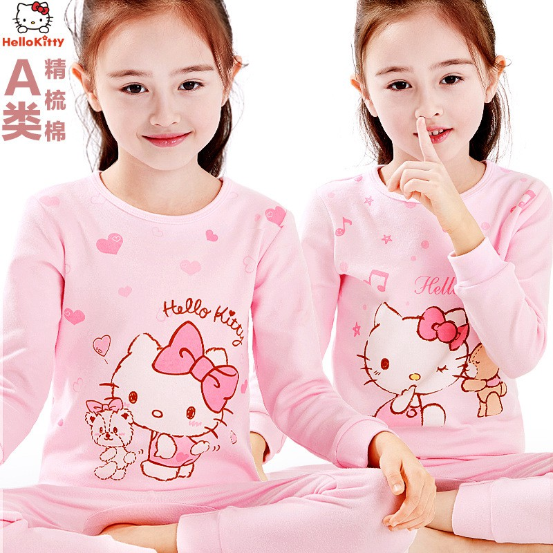 hello kitty สาวชุดชั้นในชุดผ้าฝ้ายเด็กเด็กฤดูหนาวกางเกงสาวบางฤดูใบไม้ร่วง