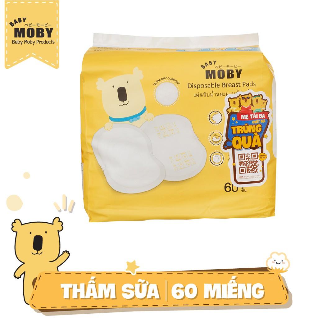 [NHẬP MKBMNAP1212 GIẢM 100K ĐƠN TỪ 500K] Hộp 60 miếng lót thấm sữa Moby Thái Lan