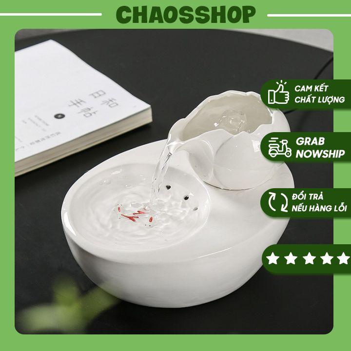 Thác nước phong thủy ⚡ Mẫu Mới ⚡ Thác nước hoa sen trắng và song ngư CHAOSSHOP
