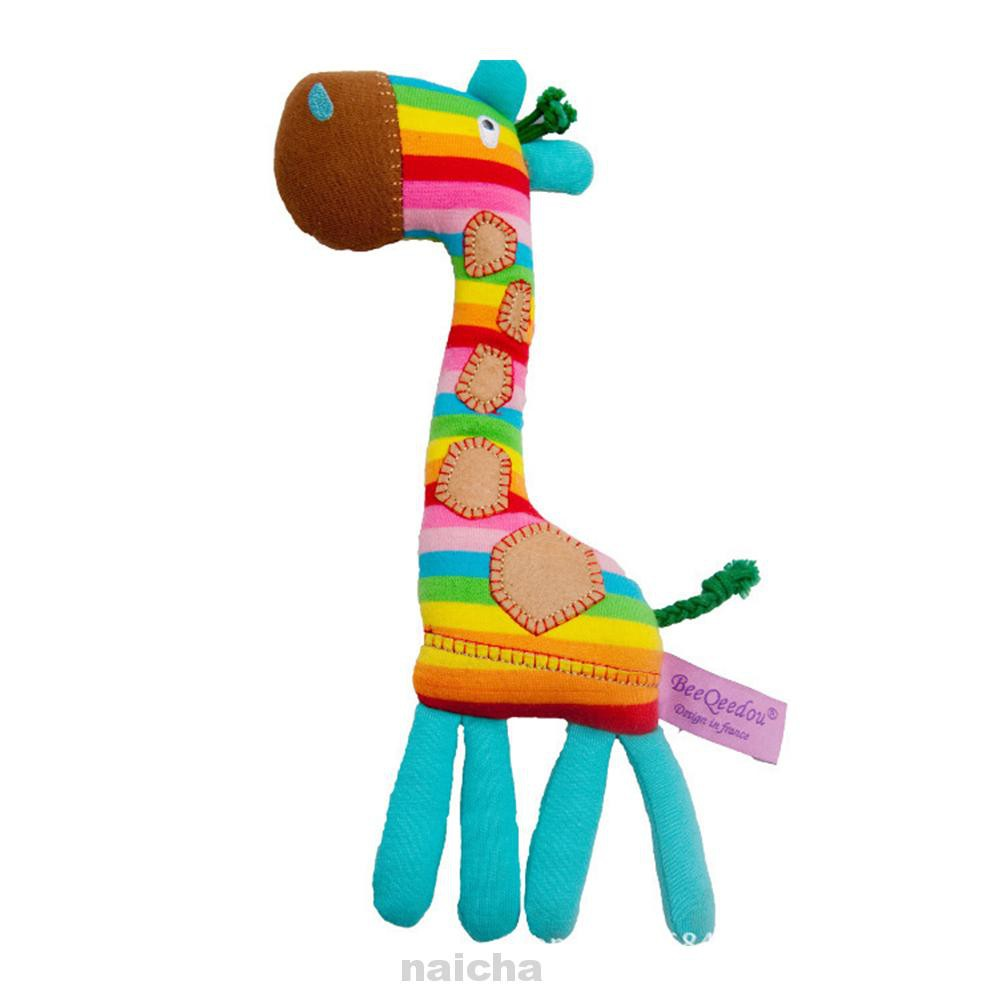Home Gift Lightweight Soft Funny Rainbow Color Giraffe Shape Early Educational Toy Baby Rattle