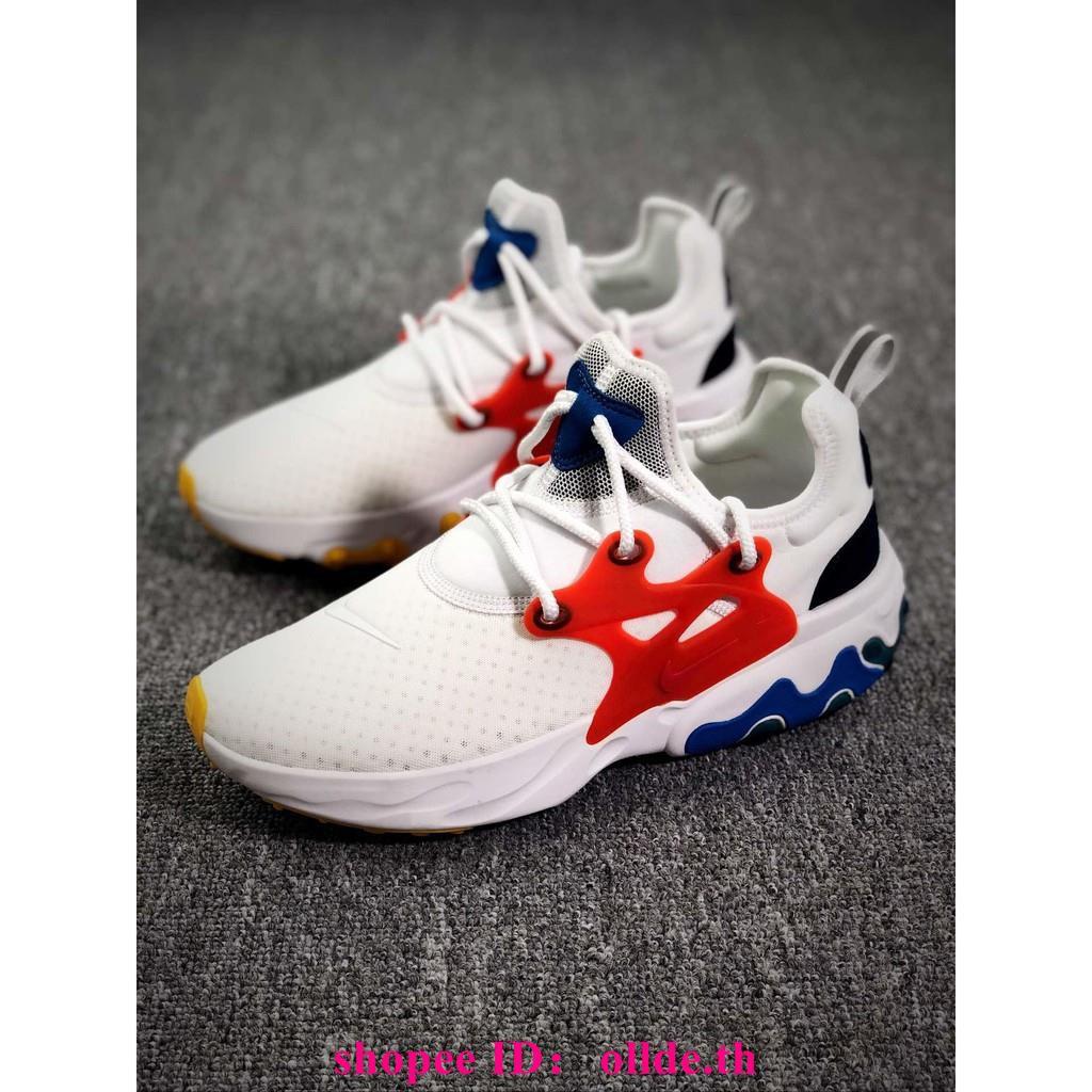 สปอต + ยิงจริง Nike Presto React ตาข่ายสีขาวสีแดงของผู้ชายรองเท้ากีฬารองเท้าระบายอากาศลูกไม้รองเท้าวิ่ง