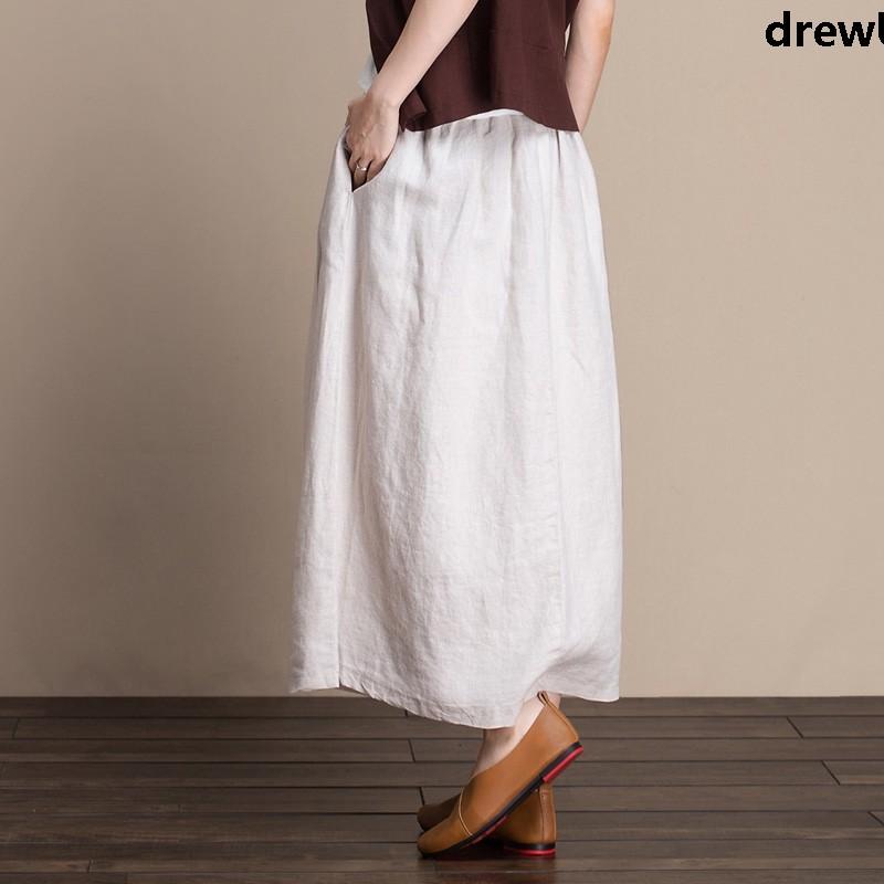 Chân Váy Lưng Cao Vải Lanh Mỏng Thời Trang Thanh Lịch Cho Nữ