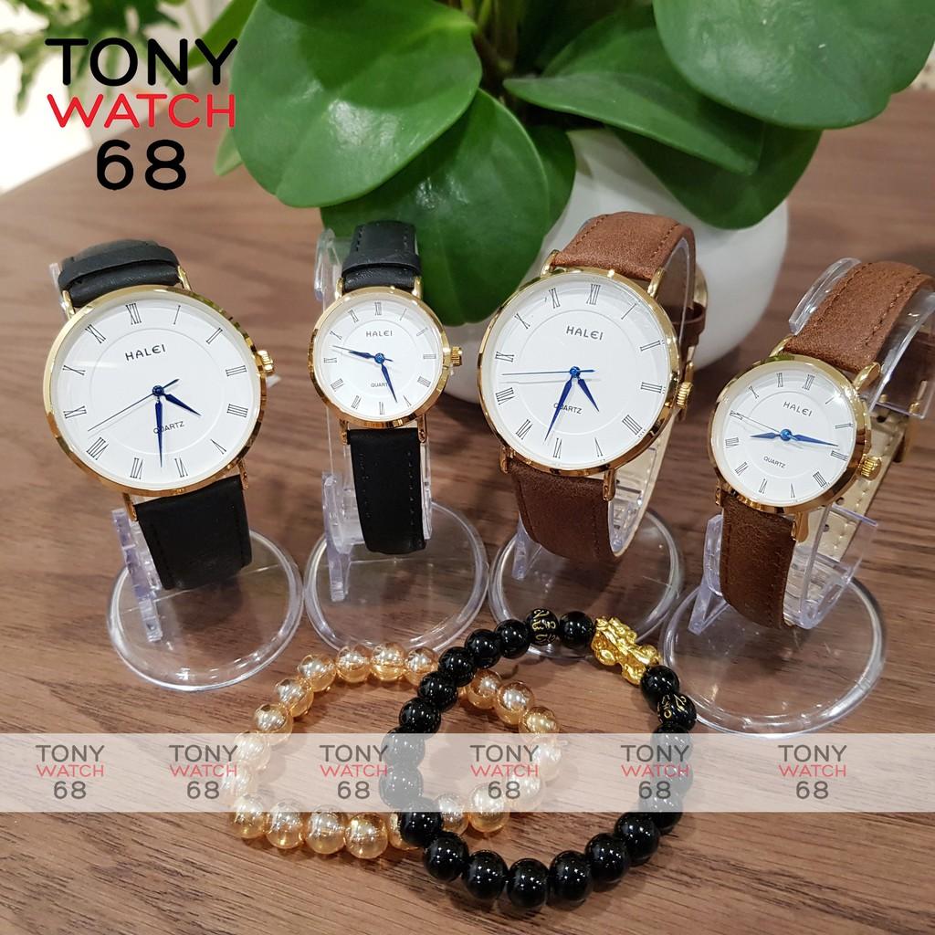 Đồng hồ đôi nam nữ dây da chính hãng Halei đeo tay cặp viền vàng chống nước thời trang