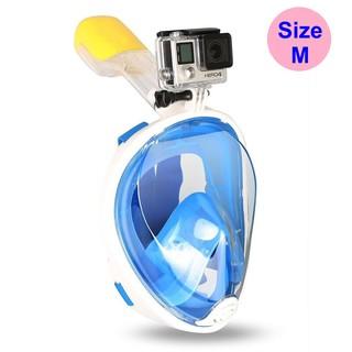 Mặt nạ lặn Full Face Size M gắn được GOPRO, SJCAM tầm nhìn 180 độ, Ống thở gắn liền ngăn nước POPO Collection