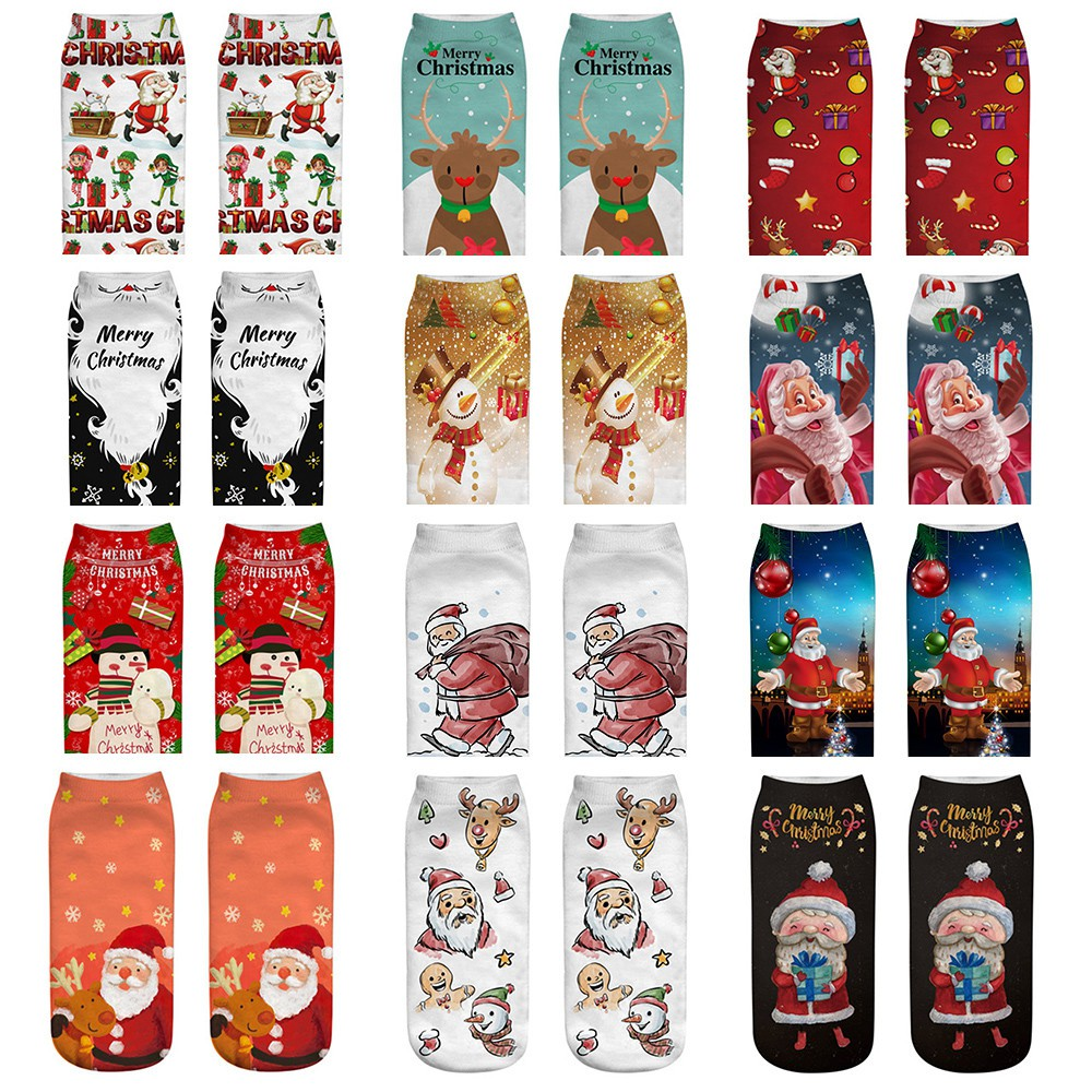 ✿Sugarfree beautiful  Comfortable Christmas Cotton Sock Slippers Short  Print Ankle Socks  Comfort❀