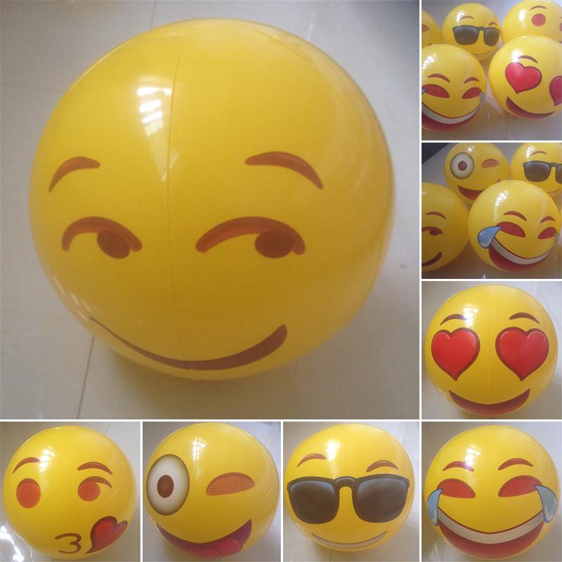 12 inch Pool Beach Ball Inflatable Toy Summer Swimming Play Game Fun Party Emoji