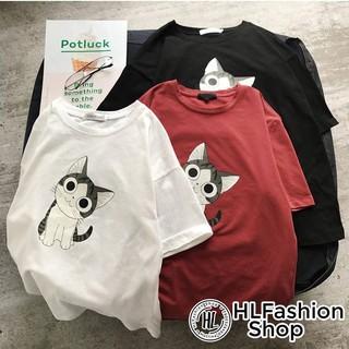 Áo thun tay lỡ form rộng Mèo đáng yêu, áo phông form rộng size HLFashion thumbnail