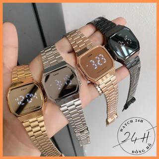 Đồng hồ nam, nữ Tráng gương LED cảm ứng cao cấp, dây thép sang trọng cho giới trẻ thumbnail