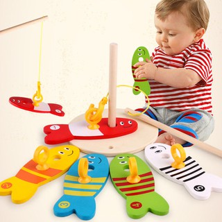 8pcs Wooden Education Toy Colorful Fishing Pillar Column Baby Toy for Children
