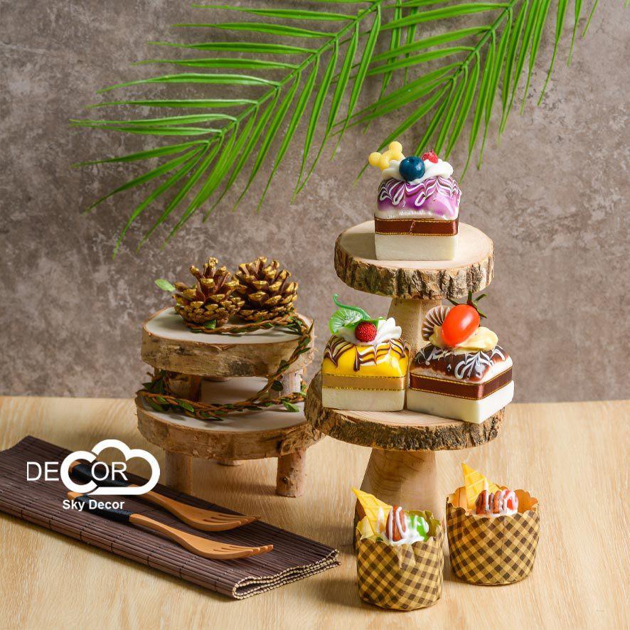 Cake stand vintage bằng gỗ trang trí bánh, đồ ăn, home decor, vintage decor - Skydecor